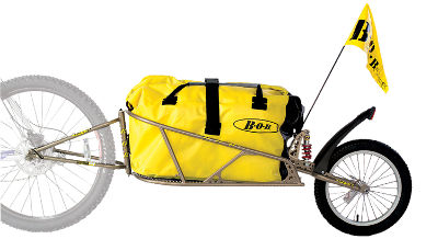 bikever bike hiring rental accessory transport trailer bob ibex yellow luggages